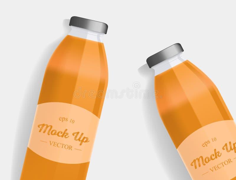 Σχέδιο συσκευασίας χυμού πορτοκαλιών ή καρότων με την ετικέτα ελεύθερη απεικόνιση δικαιώματος