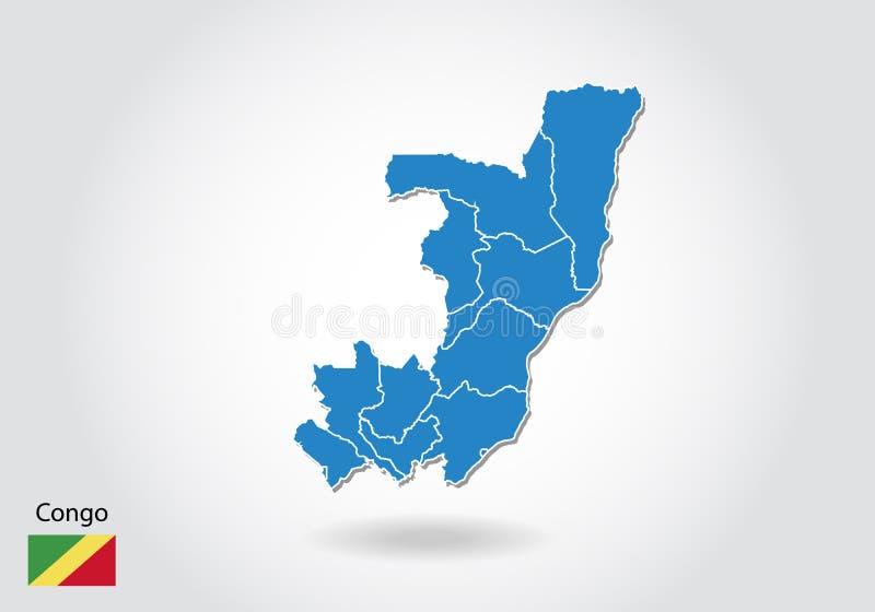 Σχέδιο χαρτών του Κονγκό με το τρισδιάστατο ύφος Μπλε χάρτης και εθνική σημαία του Κογκό Απλός διανυσματικός χάρτης με το περίγρα απεικόνιση αποθεμάτων