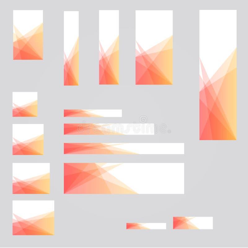 σχέδιο προτύπων υποβάθρου 15 διαφορετικό μεγέθους εμβλημάτων για τον υπολογιστή γραφείου και τις κινητές αγγελίες απεικόνιση αποθεμάτων