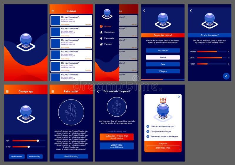 Σχέδιο app ωροσκοπίων ui αρρενωπό ελεύθερη απεικόνιση δικαιώματος