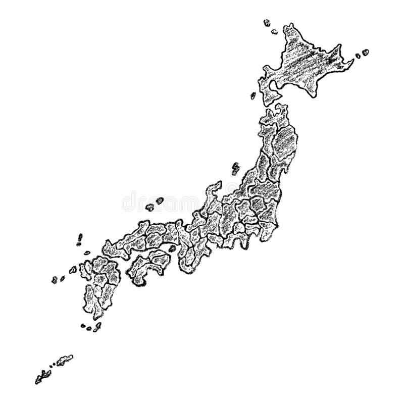 Σχεδιαζόμενος χέρι χάρτης της Ιαπωνίας απεικόνιση αποθεμάτων