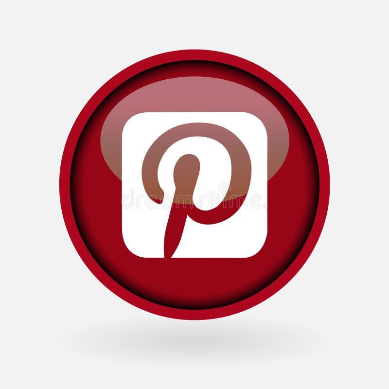 Συλλογή του δημοφιλούς κοινωνικού λογότυπου μέσων που τυπώνεται στη Λευκή Βίβλο: Pinterest απεικόνιση αποθεμάτων