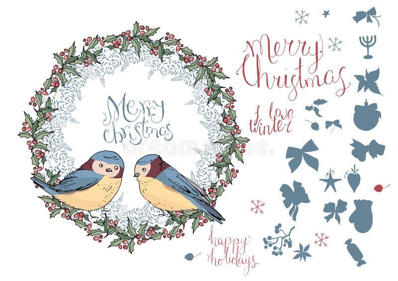 Συλλογή των διαφορετικών χειμερινών πουλιών διανυσματική απεικόνιση