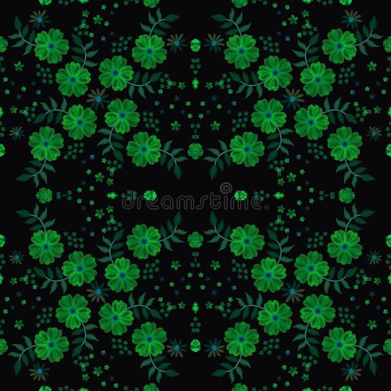 Συμμετρική σύνθεση με τα πράσινα λουλούδια και τα φύλλα κεντητικής Τετραγωνικό σχέδιο για την τυπωμένη ύλη bandana ή το μαντίλι λ ελεύθερη απεικόνιση δικαιώματος