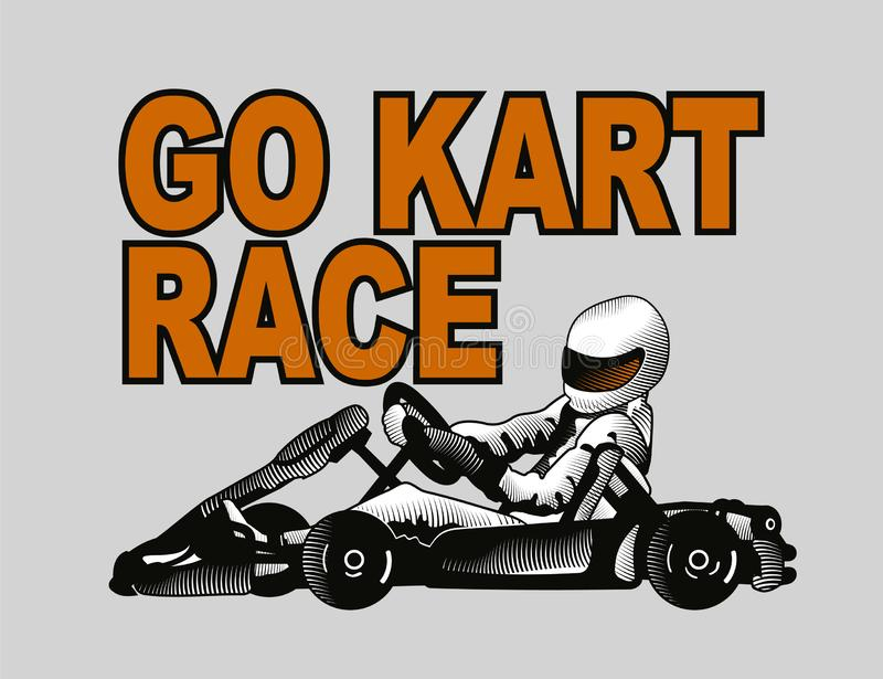 Συναγωνιμένος οδηγός Karting στο γκρίζο υπόβαθρο απεικόνιση αποθεμάτων