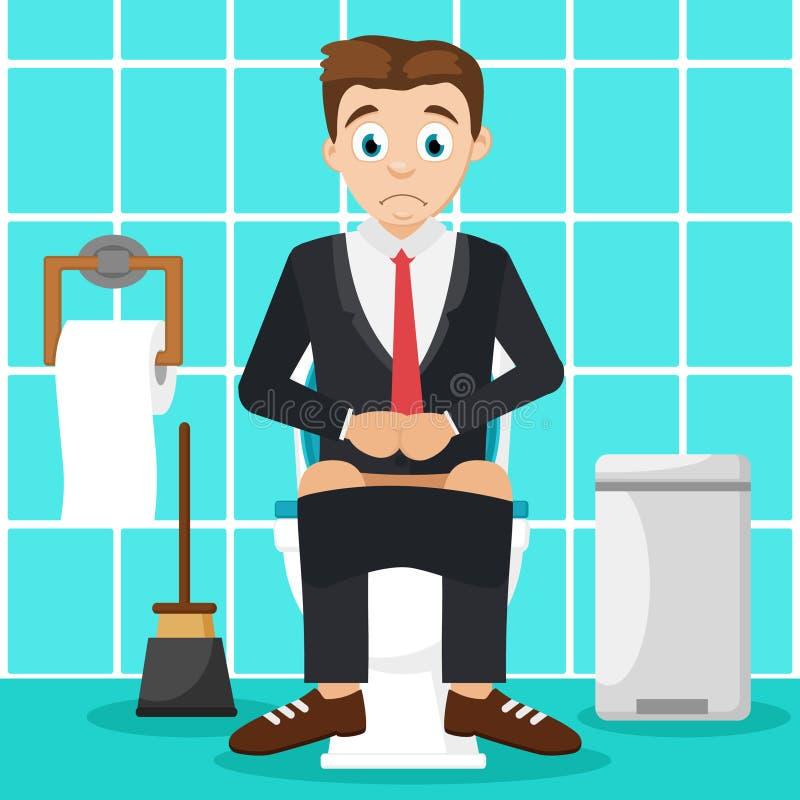 Συνεδρίαση ατόμων στην τουαλέτα στο λουτρό δυσπεψία απεικόνιση αποθεμάτων