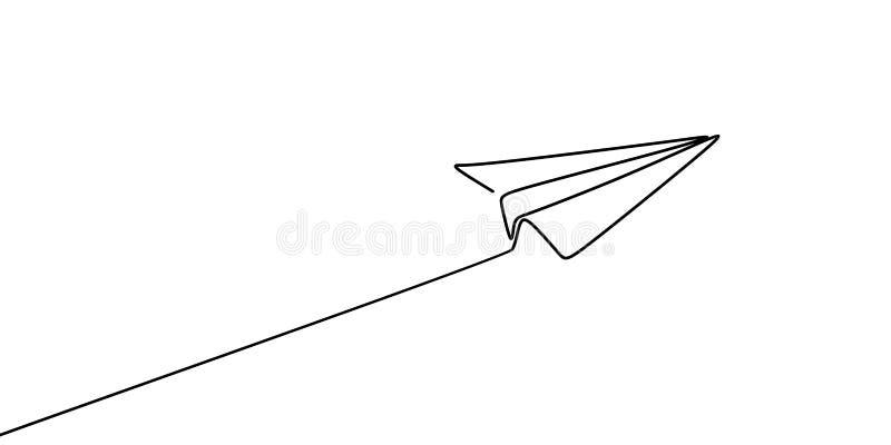 Συνεχές σχέδιο γραμμών της διανυσματικής απεικόνισης αεροπλάνων εγγράφου ελεύθερη απεικόνιση δικαιώματος