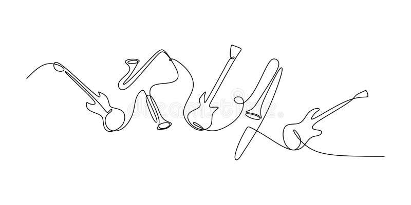 συνεχές σχέδιο γραμμών του οργάνου τζαζ Μουσικά εργαλεία της ηλεκτρικών κιθάρας, της σάλπιγγας, του βιολιού, των περκών, και του  διανυσματική απεικόνιση