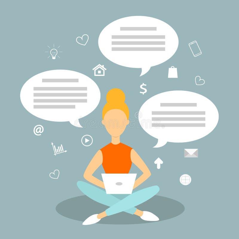 Συνομιλία γυναικών σε Διαδίκτυο στο lap-top ελεύθερη απεικόνιση δικαιώματος