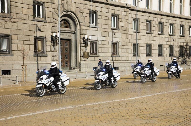 Συνοδεία μοτοσικλετών αστυνομίας, Sofia Βουλγαρία στοκ εικόνες
