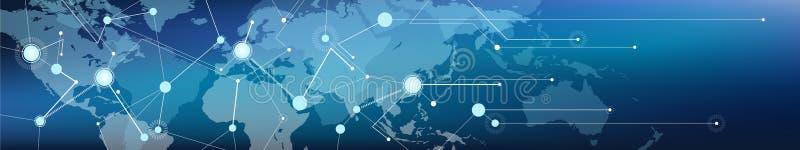 Συνδεδεμένο κόσμος επικοινωνία/διοικητικές μέριμνες και μεταφορά/εμπόριο, ψηφιοποίηση και συνδετικότητα εμβλημάτων χάρτης †« διανυσματική απεικόνιση