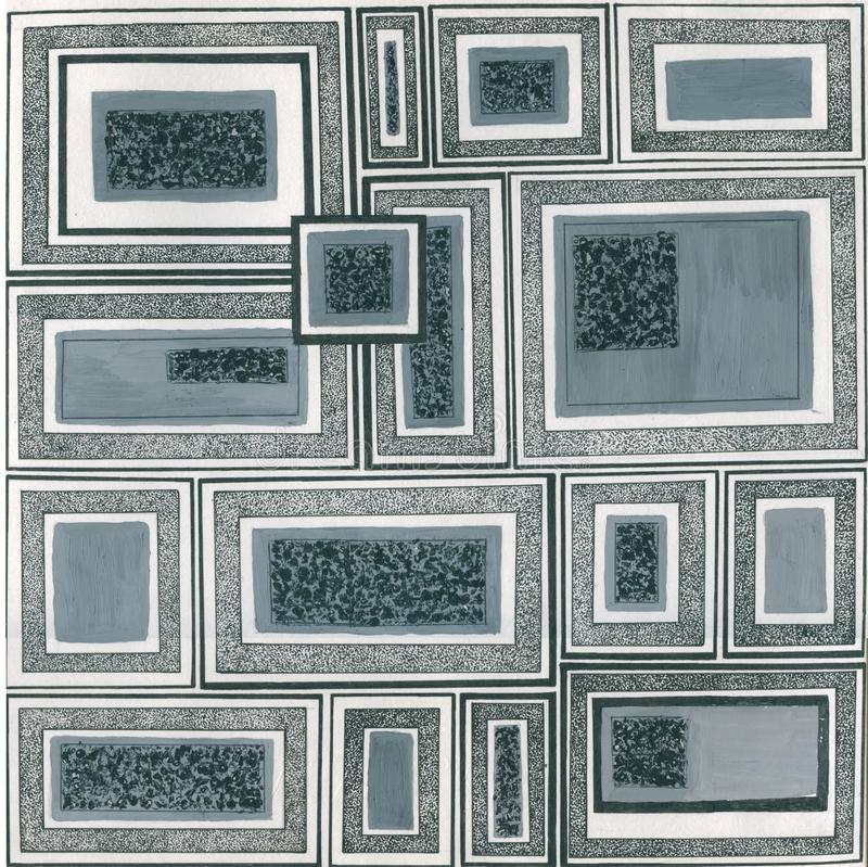 Συρμένα χέρι καθορισμένα πλαίσια swatches των σχεδίων της Μέμφιδας - υπόβαθρο Η αναδρομική 80-δεκαετία του '90 ύφους μόδας Μολυβι ελεύθερη απεικόνιση δικαιώματος