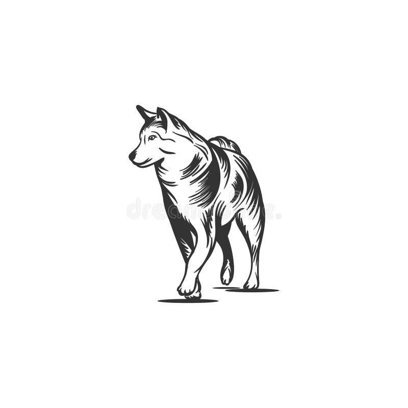 Συρμένα χέρι σχέδια μασκότ σκυλιών απεικόνιση αποθεμάτων