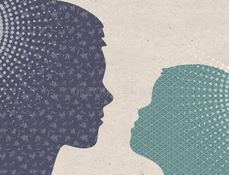 Συρμένες σχεδιάγραμμα σκιαγραφίες - μητέρα με το παιδί διανυσματική απεικόνιση