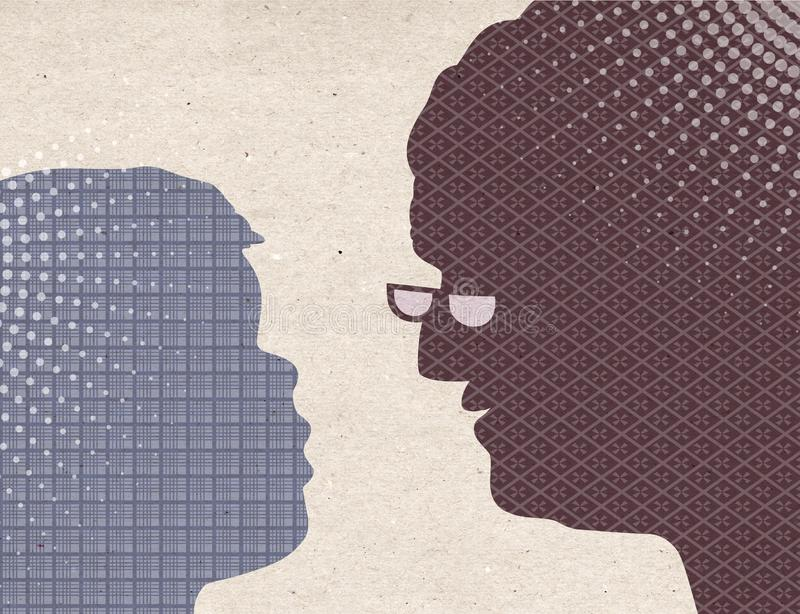 Συρμένες σχεδιάγραμμα σκιαγραφίες - παιδί με τη γιαγιά ελεύθερη απεικόνιση δικαιώματος