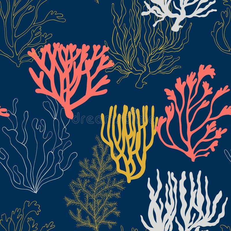 Συρμένη χέρι απεικόνιση σχεδίων κοραλλιών διανυσματική απεικόνιση