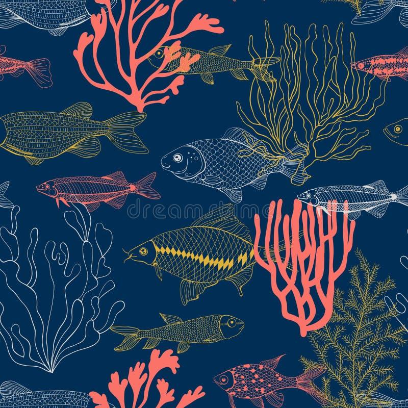 Συρμένη χέρι απεικόνιση σχεδίων ψαριών και κοραλλιών απεικόνιση αποθεμάτων