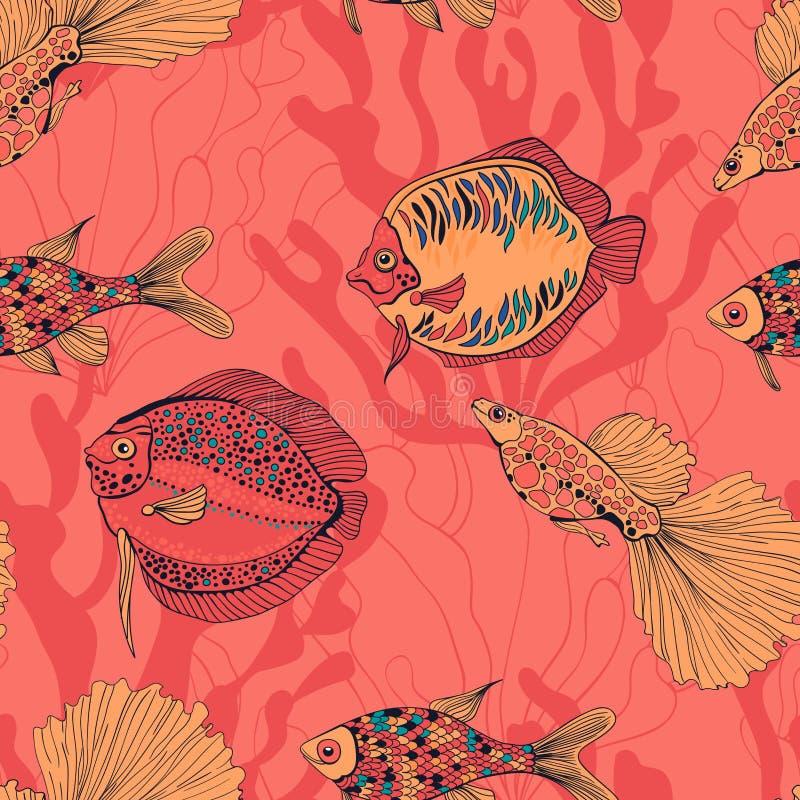 Συρμένη χέρι απεικόνιση σχεδίων ψαριών και κοραλλιών διανυσματική απεικόνιση