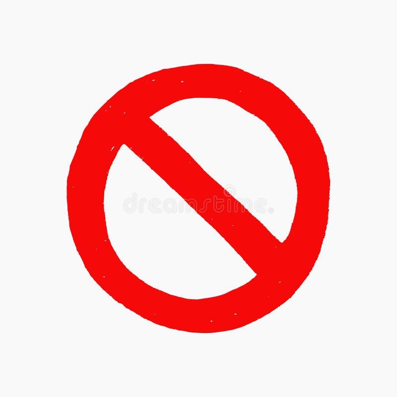 Συρμένη χέρι διανυσματική απεικόνιση του κόκκινου σημαδιού απαγόρευσης που απομονώνεται στο άσπρο υπόβαθρο διανυσματική απεικόνιση