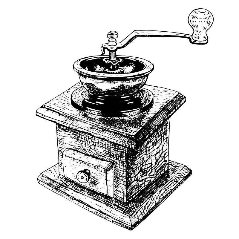 Συρμένος χέρι χειρωνακτικός μύλος καφέ Διανυσματικό σκίτσο ελεύθερη απεικόνιση δικαιώματος