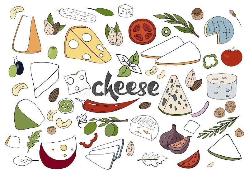 Συρμένο το χέρι διάνυσμα έθεσε με τους διαφορετικούς τύπους τυριών, καρυκευμάτων και καρυδιών ι διανυσματική απεικόνιση