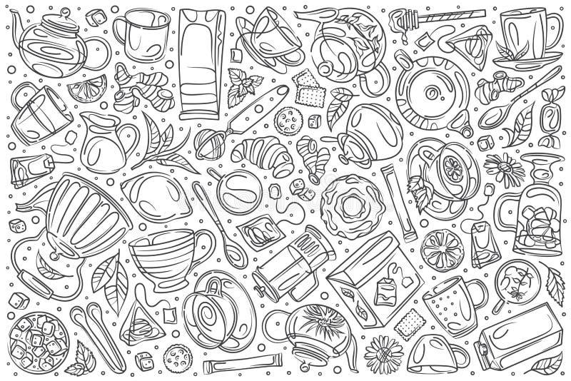 Συρμένο χέρι καθορισμένο καφετερία doodle διανυσματικό υπόβαθρο ελεύθερη απεικόνιση δικαιώματος