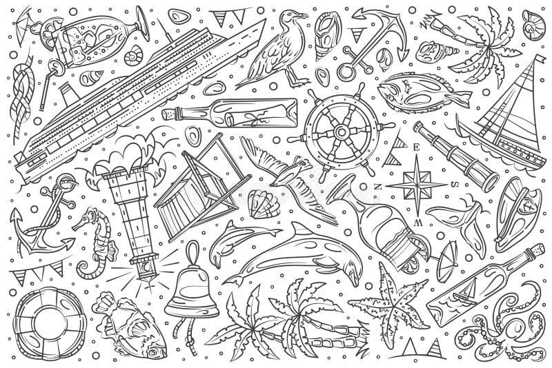 Συρμένο χέρι καθορισμένο doodle κρουαζιέρα διανυσματικό υπόβαθρο σκαφών διανυσματική απεικόνιση