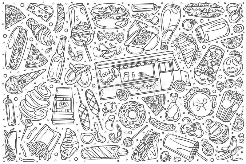 Συρμένο χέρι καθορισμένο doodle φορτηγό διανυσματικό υπόβαθρο τροφίμων απεικόνιση αποθεμάτων