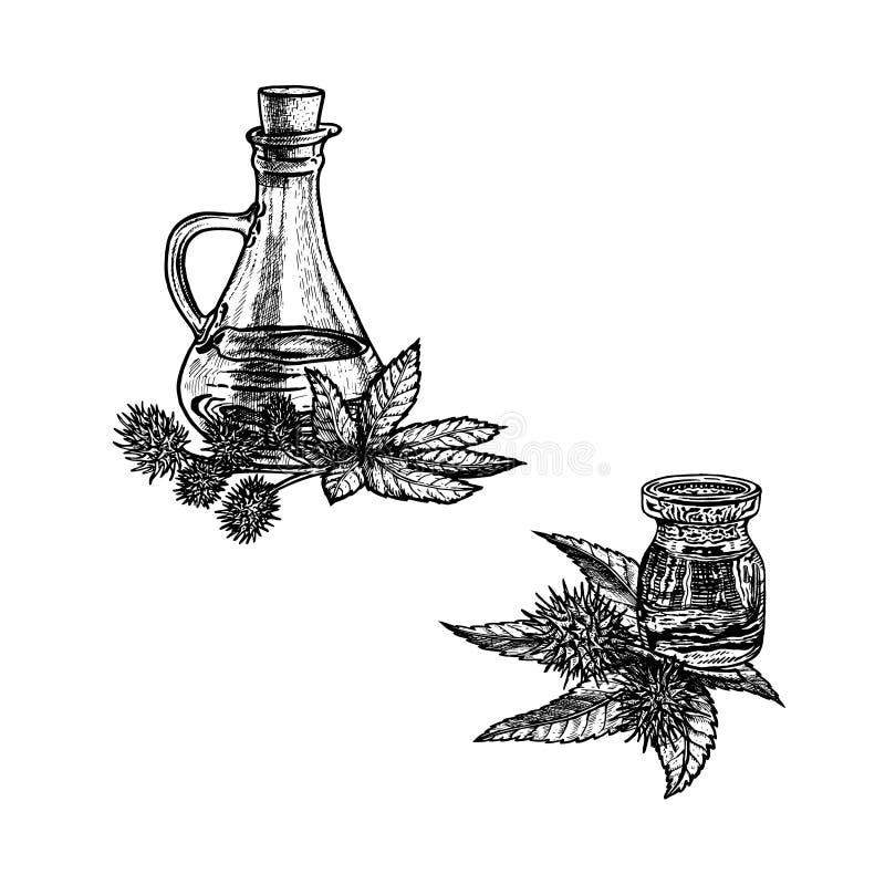 Συρμένο χέρι σκίτσο του κάστορα - πετρέλαιο Εκχύλισμα των εγκαταστάσεων επίσης corel σύρετε το διάνυσμα απεικόνισης διανυσματική απεικόνιση