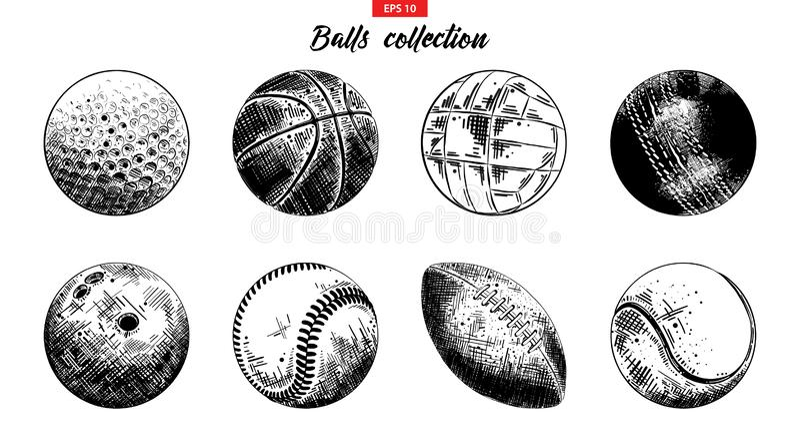 Συρμένο χέρι σύνολο σκίτσων αθλητικών σφαιρών που απομονώνεται στο άσπρο υπόβαθρο Λεπτομερής εκλεκτής ποιότητας συλλογή χαρακτική ελεύθερη απεικόνιση δικαιώματος