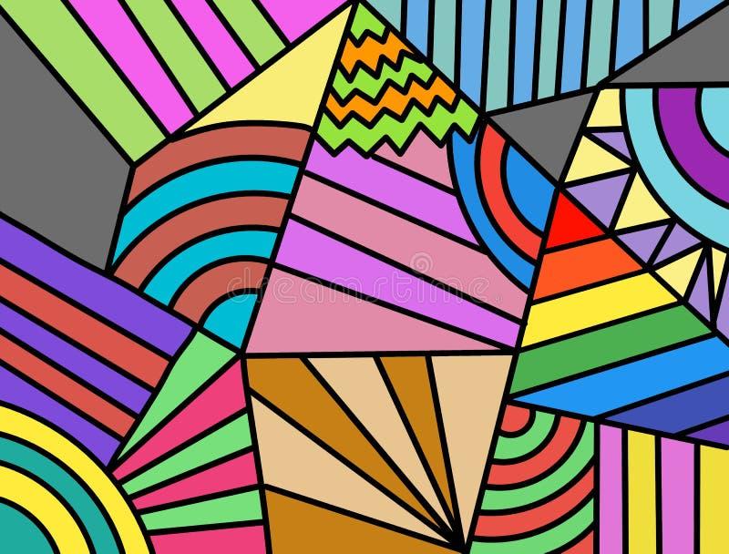 Συρμένο χέρι πολύχρωμο υπόβαθρο, μορφές, χρώμα, τέχνη, γεωμετρικός αφηρημένος, χειρόγραφη απεικόνιση αποθεμάτων