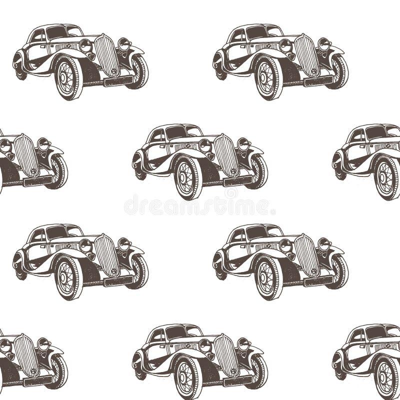 Συρμένο χέρι doodle άνευ ραφής σχέδιο αυτοκινήτων κινούμενων σχεδίων Ταπετσαρία για το αγοράκι Σκίτσο μεταφορών διανυσματική απεικόνιση