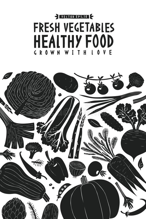 Συρμένο πρότυπο σχεδίου λαχανικών διασκέδασης χέρι Γραπτός γραφικός Ανασκόπηση λαχανικών Ύφος Linocut τρόφιμα υγιή διάνυσμα διανυσματική απεικόνιση