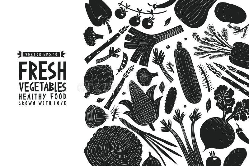 Συρμένο πρότυπο σχεδίου λαχανικών διασκέδασης χέρι Γραπτός γραφικός Ανασκόπηση λαχανικών Ύφος Linocut τρόφιμα υγιή διάνυσμα ελεύθερη απεικόνιση δικαιώματος