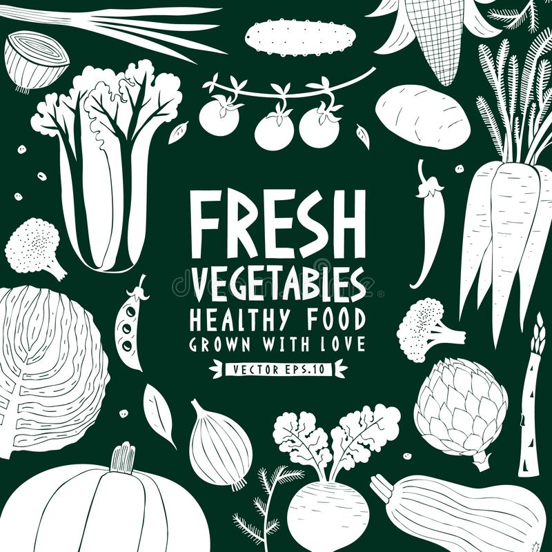 Συρμένο πρότυπο σχεδίου λαχανικών διασκέδασης χέρι Πράσινος και άσπρος γραφικός Ανασκόπηση λαχανικών Ύφος Linocut τρόφιμα υγιή δι ελεύθερη απεικόνιση δικαιώματος