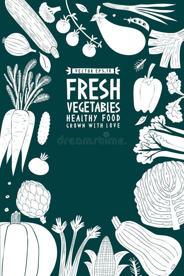 Συρμένο πρότυπο σχεδίου λαχανικών διασκέδασης χέρι Πράσινος και άσπρος γραφικός Ανασκόπηση λαχανικών Ύφος Linocut τρόφιμα υγιή δι διανυσματική απεικόνιση