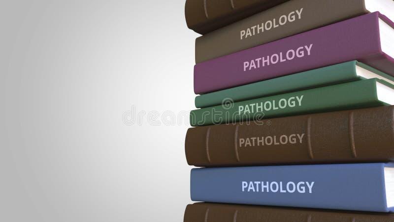 Σωρός των βιβλίων στην ΠΑΘΟΛΟΓΙΑ, τρισδιάστατη απόδοση απεικόνιση αποθεμάτων
