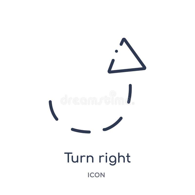 σωστό βέλος στροφής με το σπασμένο εικονίδιο από τη συλλογή περιλήψεων ενδιάμεσων με τον χρήστη Λεπτό σωστό βέλος στροφής γραμμών ελεύθερη απεικόνιση δικαιώματος