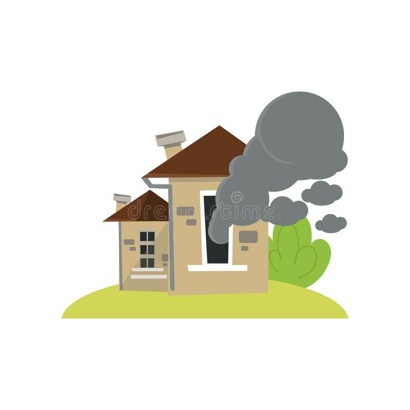 Σπίτι με τα σύννεφα καπνού που δραπετεύουν από τα παράθυρα που απομονώνονται στο άσπρο υπόβαθρο ελεύθερη απεικόνιση δικαιώματος
