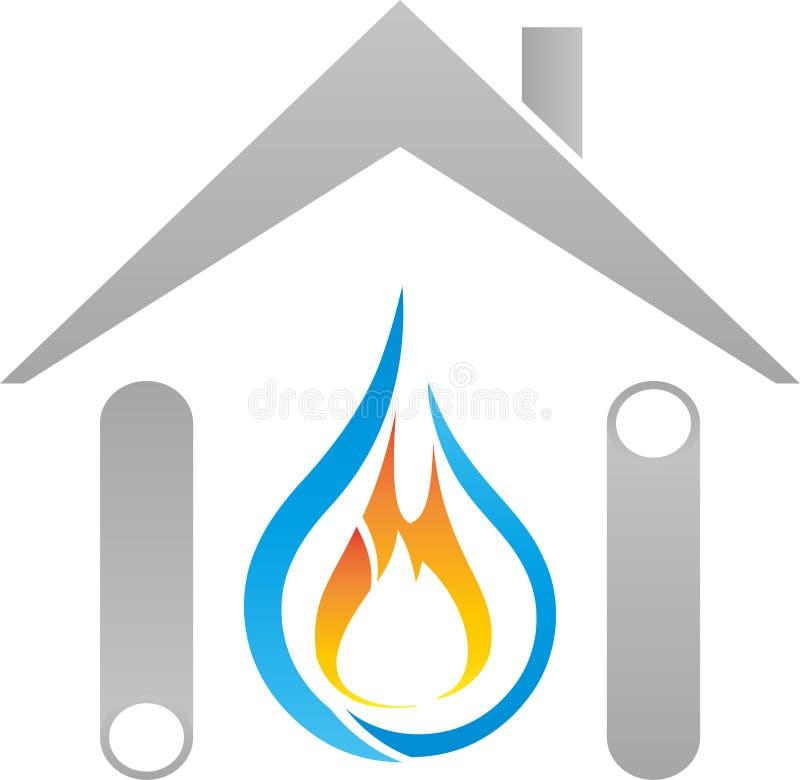 Σπίτι, σωλήνες, φλόγα και λογότυπο πτώσεων, υδραυλικών και βιοτεχνών στοκ φωτογραφία