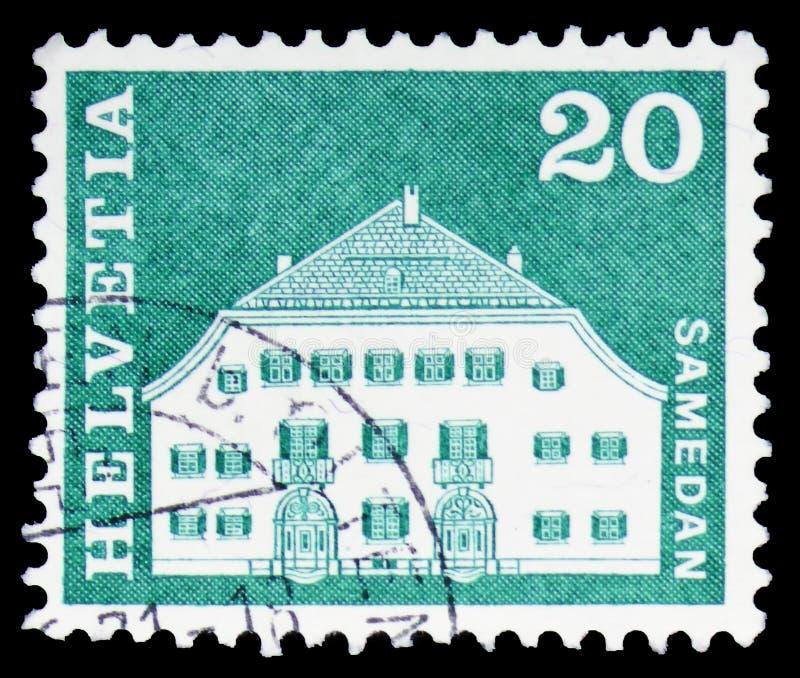 Σπίτι Planta, Samedan, ταχυδρομικά κίνητρα ιστορίας και μνημεία serie, circa 1968 στοκ εικόνες