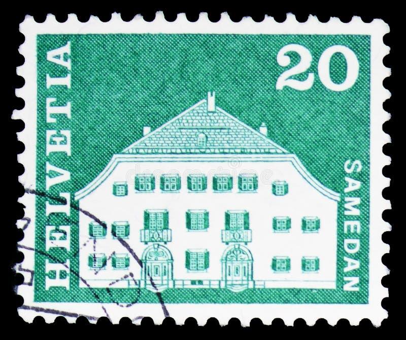 Σπίτι Planta, Samedan, ταχυδρομικά κίνητρα ιστορίας και μνημεία serie, circa 1968 στοκ εικόνες με δικαίωμα ελεύθερης χρήσης