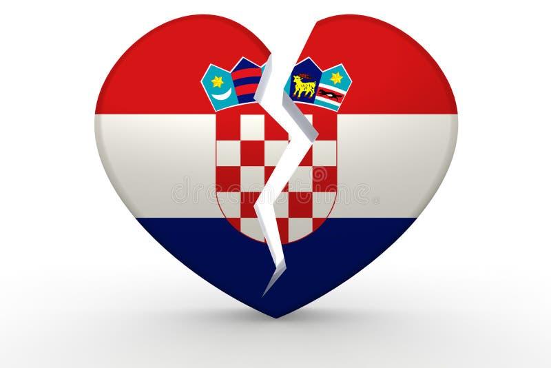 Σπασμένη άσπρη μορφή καρδιών με τη σημαία της Κροατίας απεικόνιση αποθεμάτων