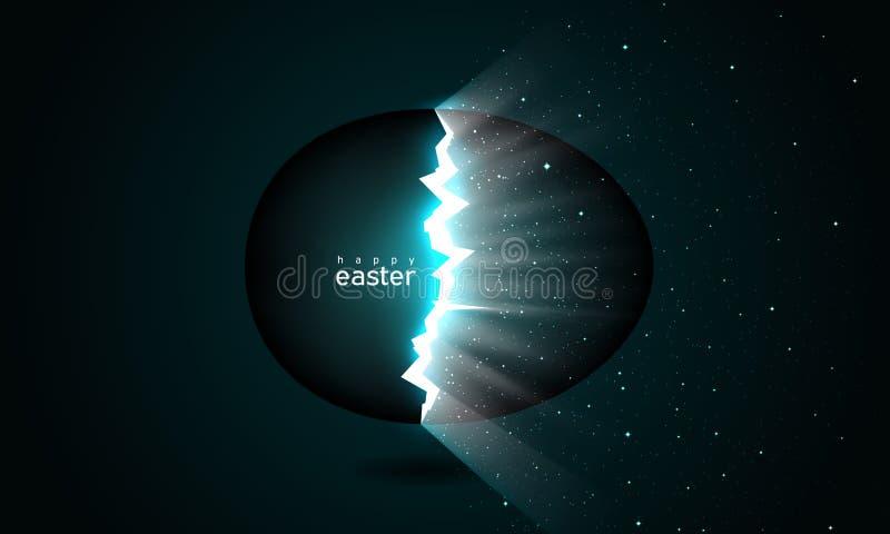 Σπασμένο αυγό Πάσχας που γεννά τον κόσμο Ακτίνες των ελαφριών και διαστημικών αστεριών από τις ρωγμές στο αυγό Πάσχας στο σκοτειν διανυσματική απεικόνιση