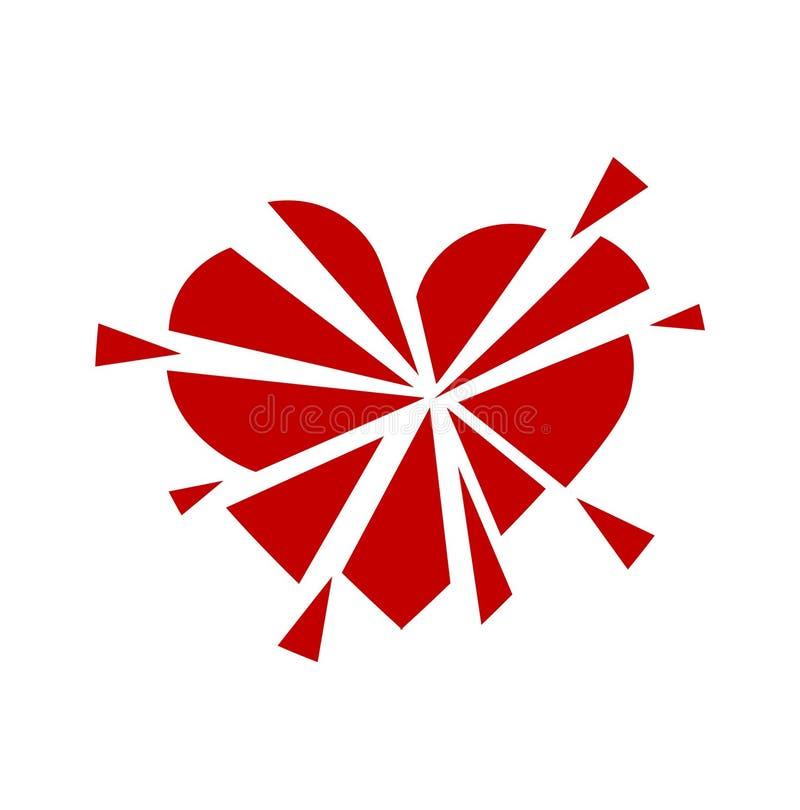 Σπασμένο κόκκινο καρδιών εικονιδίων σύμβολο απεικόνισης μινιμαλισμού διανυσματικό ελεύθερη απεικόνιση δικαιώματος