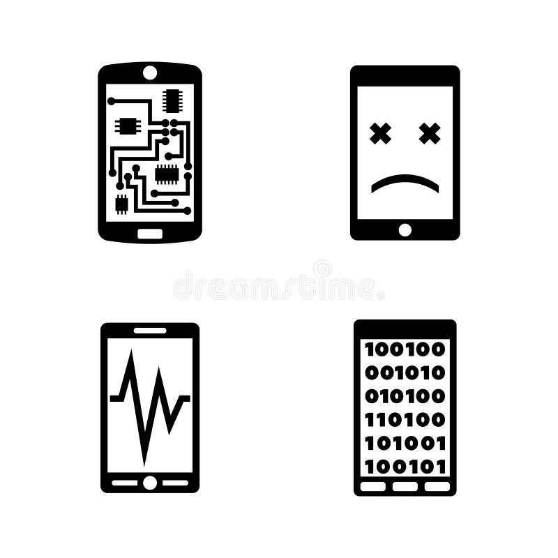 Σπασμένο Smartphone, τηλέφωνο Απλά σχετικά διανυσματικά εικονίδια ελεύθερη απεικόνιση δικαιώματος