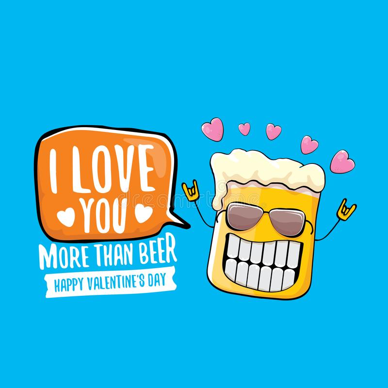 Σ' αγαπώ περισσότερο από τη διανυσματική ευχετήρια κάρτα ημέρας βαλεντίνων μπύρας με το χαρακτήρα κινουμένων σχεδίων μπύρας που α διανυσματική απεικόνιση