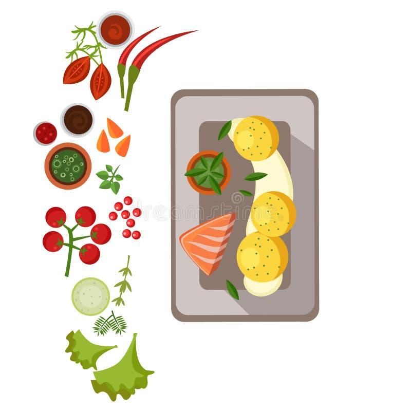 ψημένος στη σχάρα σολομός πιάτων επίσης corel σύρετε το διάνυσμα απεικόνισης απεικόνιση αποθεμάτων