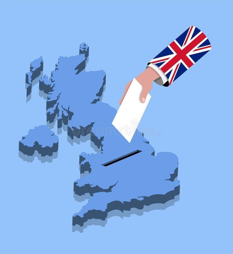 Ψηφοφορία για βρετανική εκλογή πέρα από έναν Ηνωμένο χάρτη διανυσματική απεικόνιση