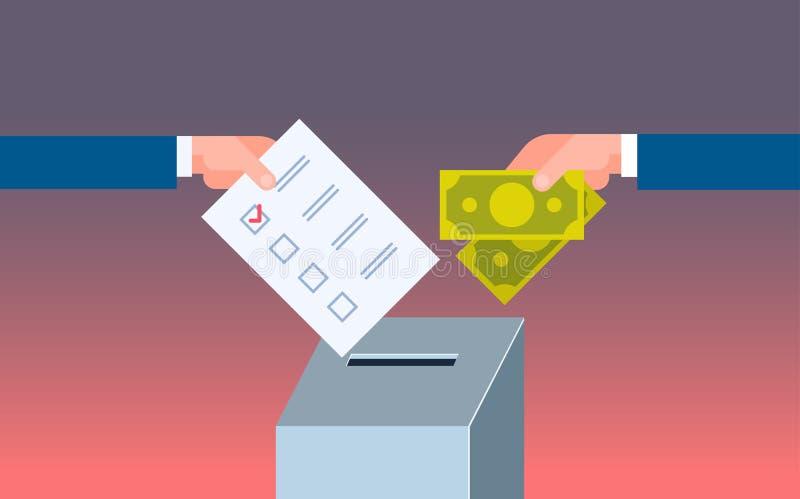 Ψηφοφόρος που βάζει τον κατάλογο ψήφου εγγράφου στο πωλώντας χέρι ψηφοφορίας κιβωτίων που δίνει τα χρήματα κατά τη διάρκεια του ε απεικόνιση αποθεμάτων